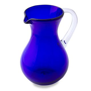 Handmade Blown Glass Pitcher, 'Ever Blue' (Mexico)