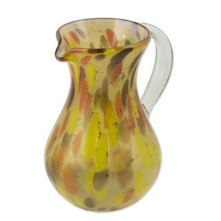Handmade Blown Glass Pitcher, 'Amber Fantasy' (Mexico)