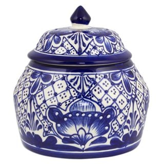 Ceramic Cookie Jar, 'Blue Guanajuato' (Mexico)