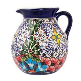 Handmade Ceramic Pitcher, Stars and Flowers' (Mexico)|https://ak1.ostkcdn.com/images/products/14449181/P21012553.jpg?impolicy=medium