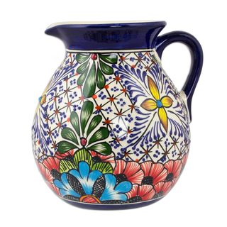 Handmade Ceramic Pitcher, Stars and Flowers' (Mexico)