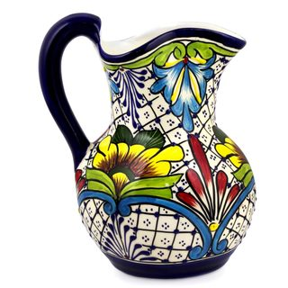 Ceramic Pitcher, 'Comonfort Wildflowers' (Mexico)
