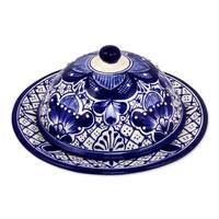 Handmade Ceramic Covered Cheese Plate, 'Blue Guanajuato' (Mexico)