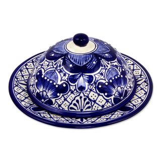 Handmade Ceramic Covered Cheese Plate, 'Blue Guanajuato' (Mexico)