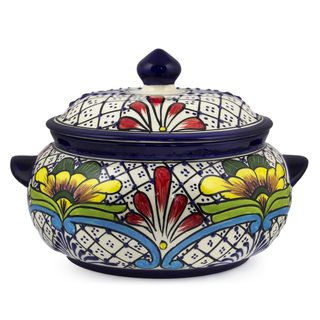 Ceramic Covered Serving Bowl, 'Floral Joy' (Mexico)
