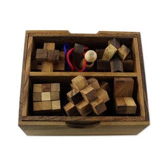 Handmade Set of 6 Wood Puzzles, 'Mini Puzzles' (Thailand) https://ak1.ostkcdn.com/images/products/14449203/P21012563.jpg?impolicy=medium