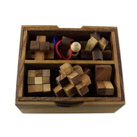 Handmade Set of 6 Wood Puzzles, 'Mini Puzzles' (Thailand)
