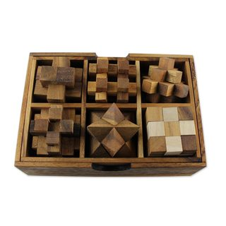Set of 6 Wood Puzzles, 'Puzzle Set' (Thailand)