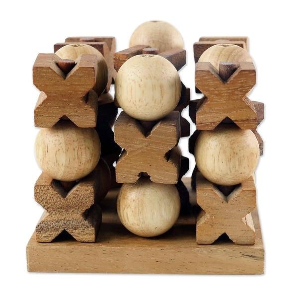 Handmade Wood Game 3D Tic Tac Toe (Thailand)