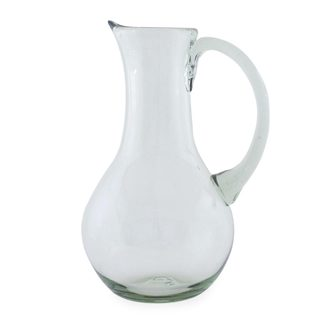 Handmade Blown Glass Pitcher, 'Clarity' (Mexico)