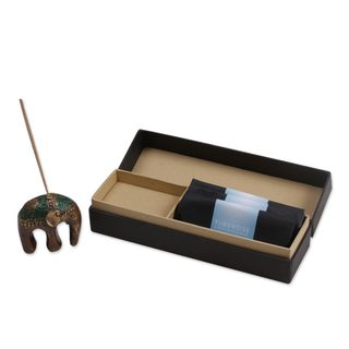 Handmade Brass Incense Holder and Sticks Set, 'Baby Jasmine Elephant' (Indonesia)