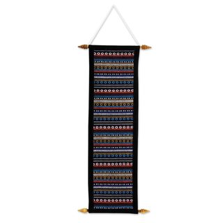 Handmade Cotton Wall Hanging, 'Thai Naga' (Thailand)
