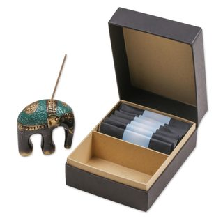 Handmade Brass Incense Holder and Sticks Set, 'Jasmine Elephant' (Indonesia)