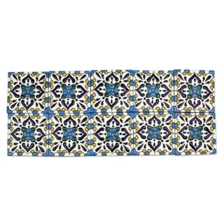 Set of 10 Ceramic Tiles, 'Turquoise Talavera' (Mexico)