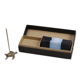 Handmade Brass Incense Holder and Sticks Set, 'Baby Sea Turtle Aroma' (Indonesia)