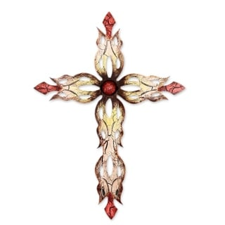 Steel Wall Art, 'Mission Cross Red' (Mexico)