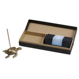 Handmade Brass Incense Holder and Sticks Set, 'Sea Turtle Aroma' (Indonesia)