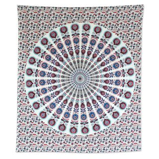 Handmade Cotton Wall Hanging, 'Mandala Bouquet' (India)