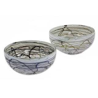 Pair Blown Glass Bowls, 'Brown Swirling Web' (Mexico)