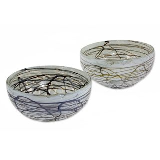 Handmade Pair Blown Glass Bowls, 'Brown Swirling Web' (Mexico)