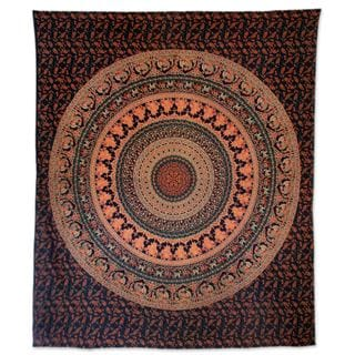 Cotton Wall Hanging, 'Majestic Mandala' (India)
