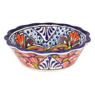 Set of 4 Ceramic Cereal Bowls, 'Floral Joy' (Mexico)