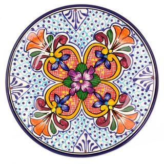 Pair Ceramic Salad Plates, 'Floral Joy' (Mexico)
