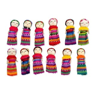 Handmade Set of 12 Cotton Worry Dolls, 'Country Beauties' (Guatemala)