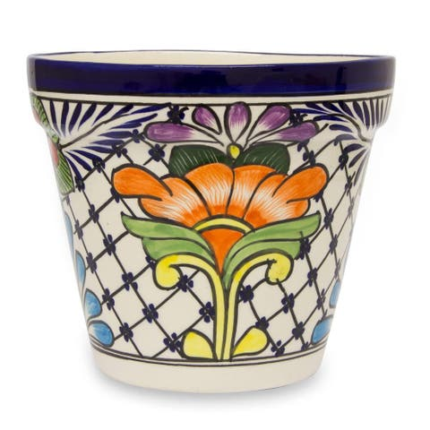 Handmade Wild Flowers Ceramic Flower Planter (Mexico) - 7 inches high x 7.75 inches in diameter