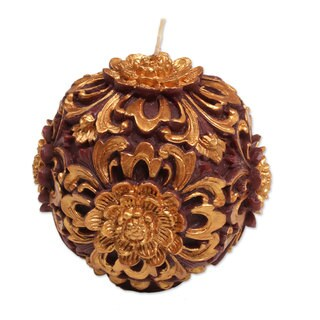 Handmade Round Accent Candle, 'Floral Orb' (Indonesia)