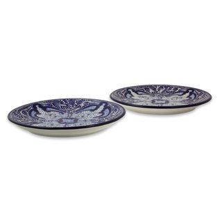 Pair Ceramic Dessert Plates, 'Puebla Kaleidoscope' (Mexico)