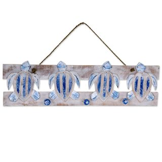Handmade Wood Coat Rack, 'Serangan Turtles' (Indonesia)