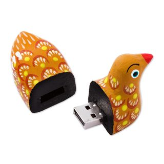 Wood Alebrijes Flash Drive, 'Delightful Duck'