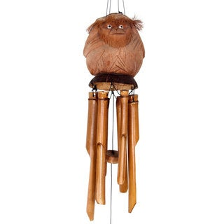 Handmade Bamboo and Coconut Shell Wind Chimes, 'Gorilla Melodies' (Indonesia)