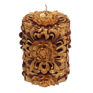 3-inch Pillar Candle,'Floral Pillar' (Indonesia)