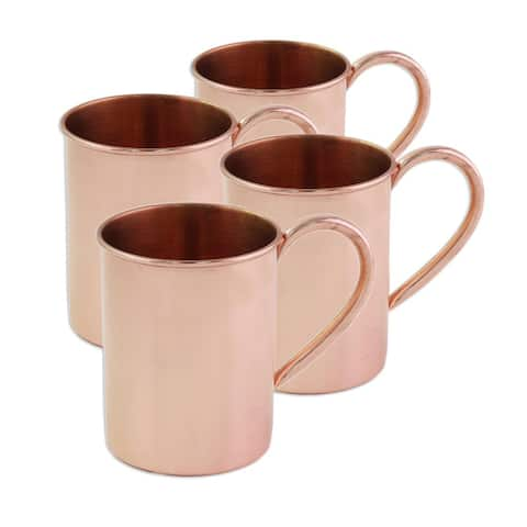 Handmade Set of 4 Copper Mugs, 'Toast to Friendship' (India)