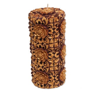 8-inch Pillar Candle,'Floral Pillar' (Indonesia)