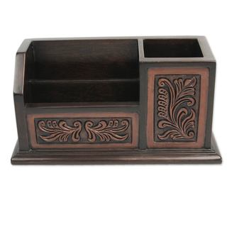 Cedar and Leather Desk Organizer, 'Andean Tradition' (Peru)