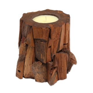 Teakwood Candle and Holder, 'Earthen Flame' (Indonesia)