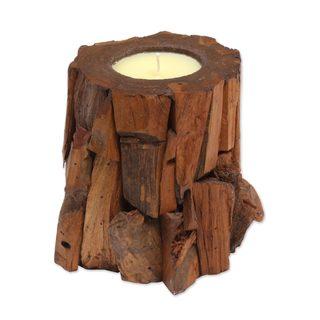 Handmade Teakwood Candle and Holder, 'Earthen Flame' (Indonesia)