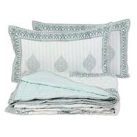 Handmade Full, 3 Pieces Block Printed Cotton Bedding Set 'Sophisticated Charm' (India)