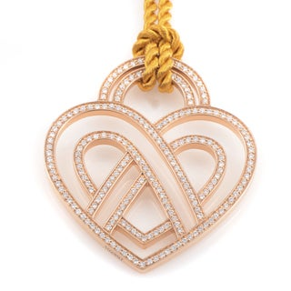 Poiray 18k Rose Gold Diamond Heart Pendant and Cord Necklace