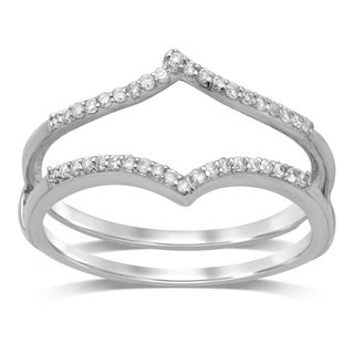 Unending Love 14k Gold 1/7ct TDW Diamond Anniversary Double Band Ring Guard (More options available)