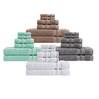 Vince Camuto 6 Piece Zero Twist Towel Set in Frost Gray