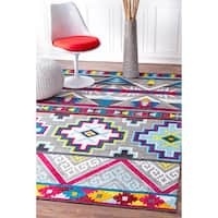 nuLOOM Handmade Contemporary Abstract Tribal Multi Rug (5' x 8') - 5' x 8'