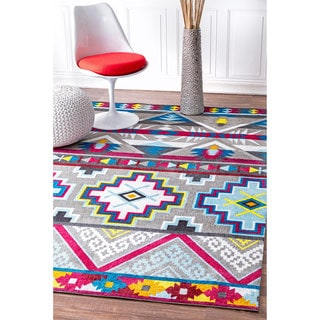 nuLOOM Handmade Contemporary Abstract Tribal Pink Multi Rug (5' x 8')