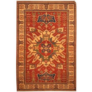Herat Oriental Afghan Hand-knotted Vegetable Dye Tribal Shirvan Wool Rug (4'3 x 6'3)