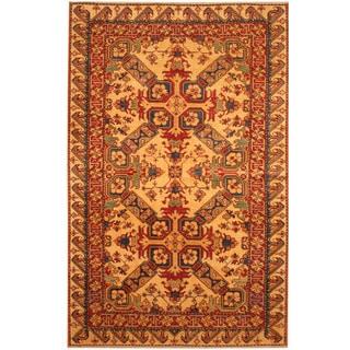 Herat Oriental Afghan Hand-knotted Vegetable Dye Tribal Shirvan Wool Rug (4' x 6'6)