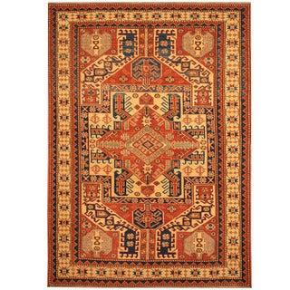 Herat Oriental Afghan Hand-knotted Vegetable Dye Tribal Shirvan Wool Rug (4' x 5'7)