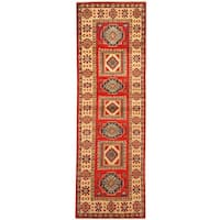 Herat Oriental Afghan Hand-knotted Vegetable Dye Tribal Kazak Wool Runner (2' x 6')